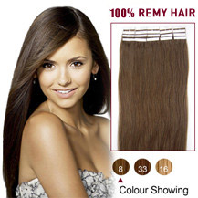 "16"" Ash Brown (#8) 20pcs Tape In Human Hair Extensions"