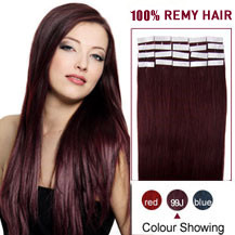 "16"" 99J 20pcs Tape In Human Hair Extensions"
