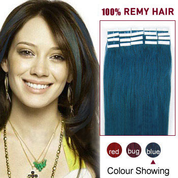 16 inches Blue 20pcs Tape In Human Hair Extensions