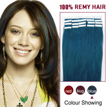 26 inches Blue 20pcs Tape In Human Hair Extensions