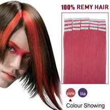 20 inches Pink 20pcs Tape In Human Hair Extensions