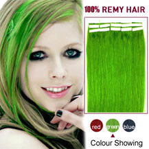 18 inches Green 20pcs Tape In Human Hair Extensions