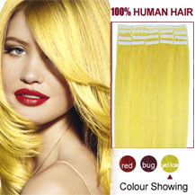 26 inches Yellow 20pcs Tape In Human Hair Extensions