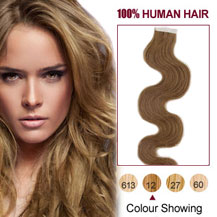 30 inches Golden Brown (#12) 20pcs Wavy Tape In Human Hair Extensions