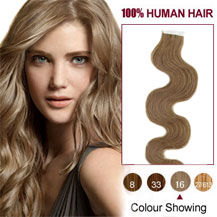 16 inches Golden Blonde (#16) 20pcs Wavy Tape In Human Hair Extensions