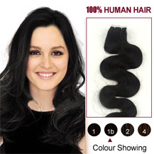 "18"" Natural Black (#1b) 20pcs Wavy Tape In Human Hair Extensions"