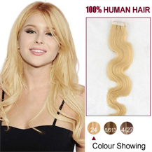 "16"" Ash Blonde (#24) 20pcs Wavy Tape In Human Hair Extensions"