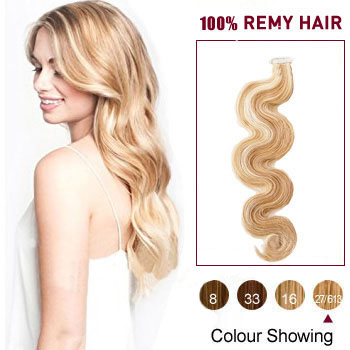 16 inches Blonde Highlight  (#27/613) 20pcs Tape In Hair Extensions Wavy