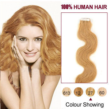 16 inches Strawberry Blonde (#27) 20pcs Wavy Tape In Hair Extensions