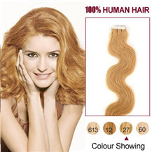 26 inches Strawberry Blonde (#27) 20pcs Wavy Tape In Human Hair Extensions
