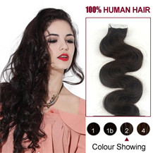"18"" Dark Brown (#2) 20pcs Wavy Tape In Human Hair Extensions"