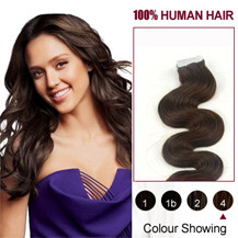 "22"" Medium Brown (#4) 20pcs Wavy Tape In Human Hair Extensions"