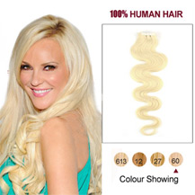 "16"" White Blonde (#60) 20pcs Wavy Tape In Human Hair Extensions"