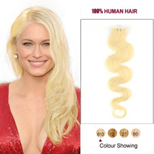 "18"" Bleach Blonde (#613) 20pcs Wavy Tape In Human Hair Extensions"