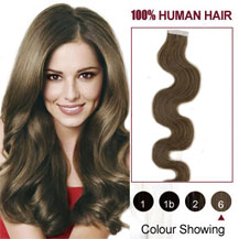 16 inches Light Brown (#6) 20pcs Wavy Tape In Human Hair Extensions