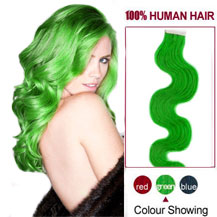 16 inches Green 20pcs Wavy Tape In Human Hair Extensions