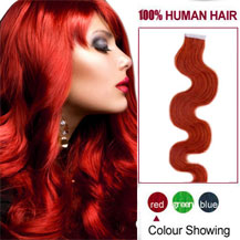 16 inches Red 20pcs Wavy Tape In Human Hair Extensions