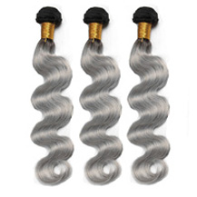 3 set bundle #1B/Grey Silver Ombre Wavy Indian Remy Gray Hair Wefts 10/12/14 Inches