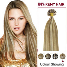 16 inches #12/613 Golden Brown Blonde 50s Nail Tip Human Hair Extensions