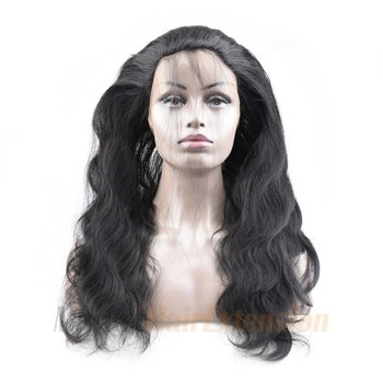 20 inches 360 Natural Black Body Wave Full lace Human closure wig