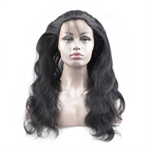 16 inches 360 Natural Black Body Wave Full lace Human closure wig