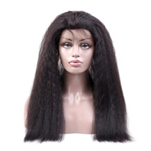 16 inches 360 Natural Black Kinky Yaki Straight Full lace Human closure wig