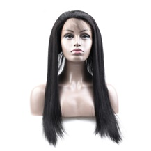 16 inches 360 Natural Black Straight Full lace Human closure wig