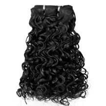 14 inches Jet Black (#1) Curly Indian Remy Hair Wefts