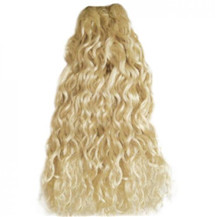 18 inches White Blonde (#60) Curly Indian Remy Hair Wefts