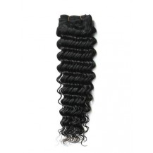 14 inches Jet Black (#1) Deep Wave Indian Remy Hair Wefts