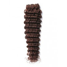 14 inches Medium Brown (#4) Deep Wave Indian Remy Hair Wefts