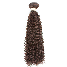 12 inches Medium Brown #4 Kinky Curly Brazilian Virgin Hair Wefts