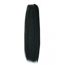 "14"" Jet Black (#1) Straight Indian Remy Hair Wefts"