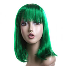 Costume Wig For Party Straight Green