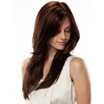 Human Hair Full Lace Wig Straight Dark Auburn