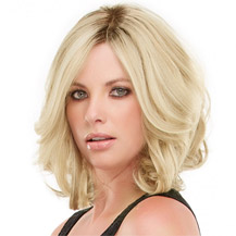 """10"""" Human Hair Full Lace Wig Wavy White Blonde"""