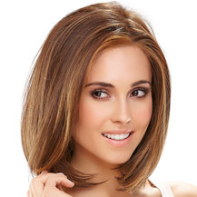 "12"" Human Hair Lace Front Wig Straight Brown Highlight"