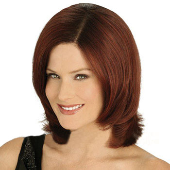 10 inches Human Hair Lace Front Wig Wavy Dark Auburn