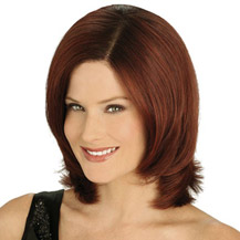 "10"" Human Hair Lace Front Wig Wavy Dark Auburn"