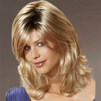 14 inches Human Hair Full Lace Wig Wavy Blonde Highlight