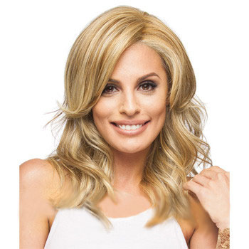 16 inches Human Hair Full Lace Wig Wavy Blonde Highlight
