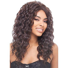 22 inches Human Hair Lace Front Wig Curly Dark Brown