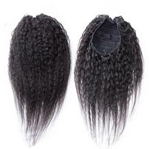 12 inches #1B Natural Black Kinky Yaki Straight Human Hair Ponytail 1PCS