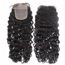 20 inches Natural Black Curly Virgin Brazilian Remy Hair Lace Closure