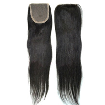 "16"" Natural Black Straight Virgin Brazilian Remy Hair Lace Closure"