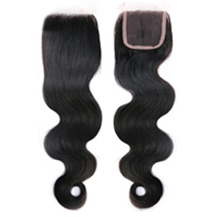 "16"" Natural Black Wavy Virgin Brazilian Remy Hair Lace Closure"