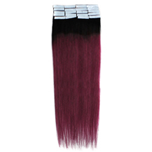 16 Inches #1B/Bug Tape In Ombre Human Hair Extensions
