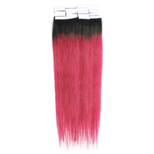 16 Inches #1B/Pink Tape In Ombre Human Hair Extensions