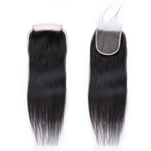 8 inches Transparent Lace Frontal Closure #1B Natural Black Human Hair Extensions Straight